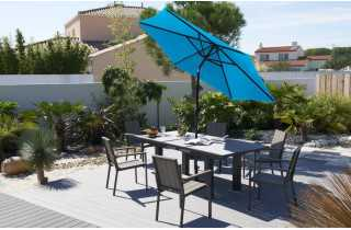 Parasol 2m70 inclinable à manivelle turquoise