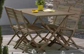 Table pliante en aluminium beige