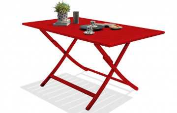 Table pliante en aluminium rouge carmin
